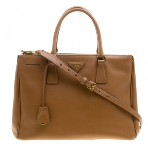 Prada Brown Saffiano Lux Leather Medium Double Zip Tote