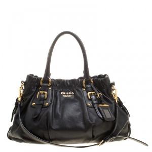 Prada Black Soft Calf Leather Shopping Tote