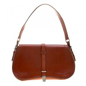Prada Cognac Leather Flap Shoulder Bag