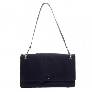 Prada Navy Blue Tessuto Nylon Flap Shoulder Bag