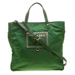 Prada Green Tessuto and Leather Retro Tote