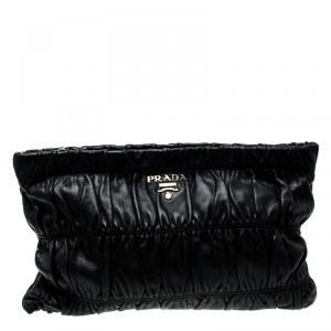 Prada Black Nappa Gauffre Leather Clutch