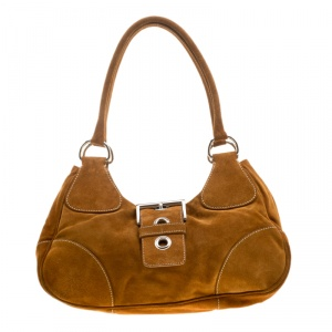 Prada Dark Camel Suede Shoulder Bag
