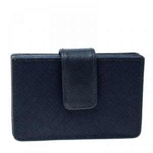 Prada Blue Saffiano Leather Accordion Card Holder