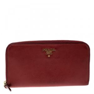 Prada Red Saffiano Multic Leather Zip Around Wallet