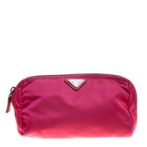 Prada Hot Pink Nylon Cosmetic Pouch