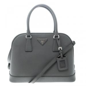 Prada Grey Saffiano Leather Open Promenade Top Handle Bag