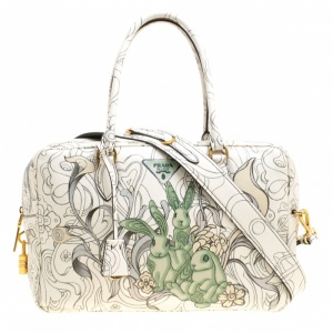 Prada Multicolor Rabbit Print Leather Top Handle Bauletto Bag