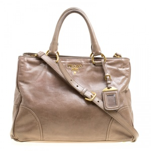 Prada Dark Beige Vitello Shine Leather Top Handle Bag