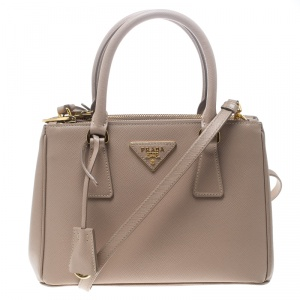 Prada Blush Pink Saffiano Lux Leather Mini Double Zip Top Handle Bag