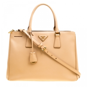 Prada Beige Saffiano Lux Leather Medium Galleria Double Zip Top Handle Bag