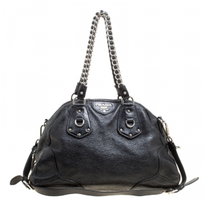 Prada Black Shimmering Leather Top Handle Bag