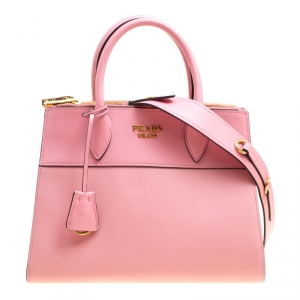 Prada Pink Saffiano Leather Top Handle Bag