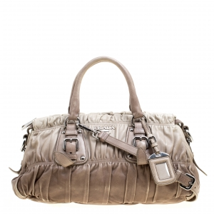 Prada Beige/Grey Ombre Nappa Gaufre Leather Top Handle Bag
