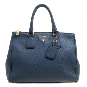 Prada Blue Vitello Daino Leather Double Zip Top Handle Bag