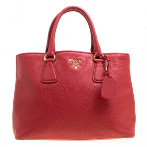 Prada Red Vitello Daino Leather Top Handle Bag