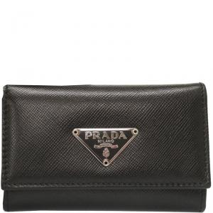 Prada Black Saffiano Leather Key Case Holder