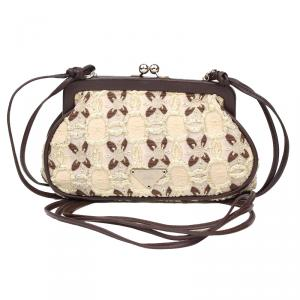 Prada Multicolor Fabric Lace Frame Evening Bag