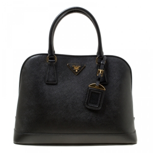 Prada Black Saffiano Lux Leather Open Promenade Top Handle Bag