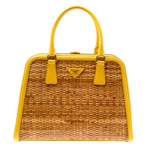 Prada Yellow/Brown Glazed Raffia and Patent Leather Pyramid Frame Bag