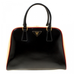 Prada Black/Yellow Patent Leather Pyramid Frame Top Handle Bag