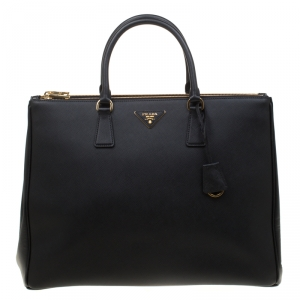 Prada Black Saffiano Lux Leather Executive Double Zip Top Handle Bag