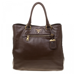 Prada Brown Leather Top Handle Bag