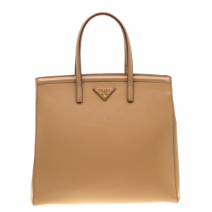 Prada Beige Saffiano Lux Leather Parabole Top Handle Bag