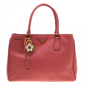 Prada Pink Saffiano Leather Lux Medium Double Zip Top Handle Bag