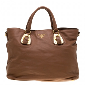 Prada Brown Calfskin Leather Nocciolo Top Handle Bag