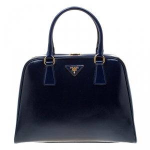 Prada Royal Blue Saffiano Leather Pyramid Frame Top Handle Bag