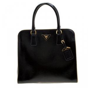 Prada Black/Cream Patent Leather Pyramid Frame Top Handle Bag