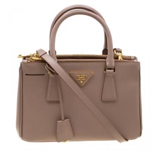 Prada Blush Pink Saffiano Lux Leather Mini Double Zip Top Handle Bag