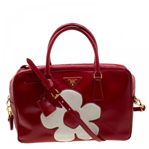 Prada Red/White Saffiano Patent Leather Bauletto Flower Top Handle Bag