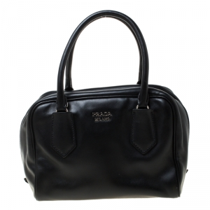 Prada Black Soft Calf Leather Top Handle Bag