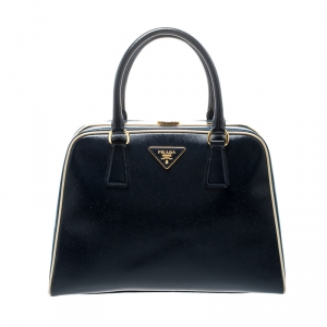 Prada Navy Blue Patent Leather Pyramid Frame Top Handle Bag