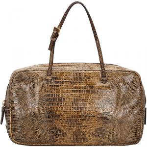 Prada Brown Crocodile Embossed Leather Top Handle Bag
