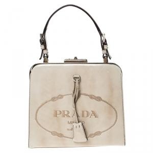 Prada Beige Logo Print Patent Leather Frame Top Handle Bag