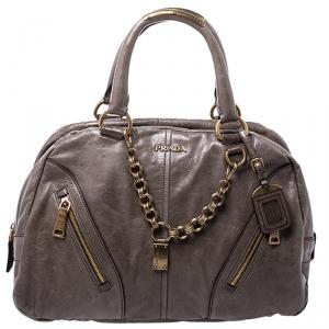 Prada Olive Green Leather Front Zip Boston Bag