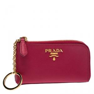 Prada Magenta Saffiano Leather Zip Key Pouch