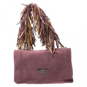 Prada Dark Purple Suede Fringe Flap Bag