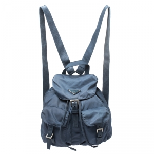 Prada Blue Tessuto Nylon Zainetto Backpack