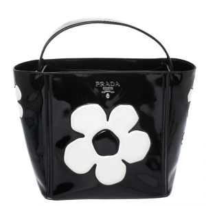 Prada Black Patent Leather Spazzolato Flower Top Handle Bag