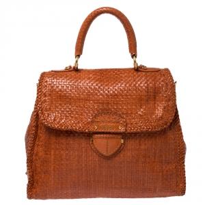 Prada Orange Woven Goatskin Leather Madras Top Handle Bag