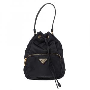 Prada Black Nylon Duet Top Handle Bag