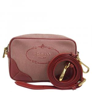 Prada Red Canapa Canvas And Leather Crossbody Bag