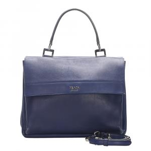 Prada Blue Leather Turnlock Satchel