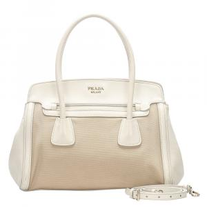 Prada White Canvas And Leather Satchel