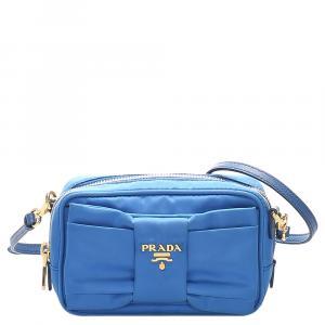 Prada Blue Nylon Fiocco Bow Tessuto Crossbody Bag