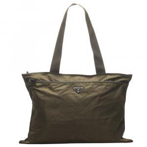 Prada Brown /Khaki Nylon Tessuto Shoulder Bag